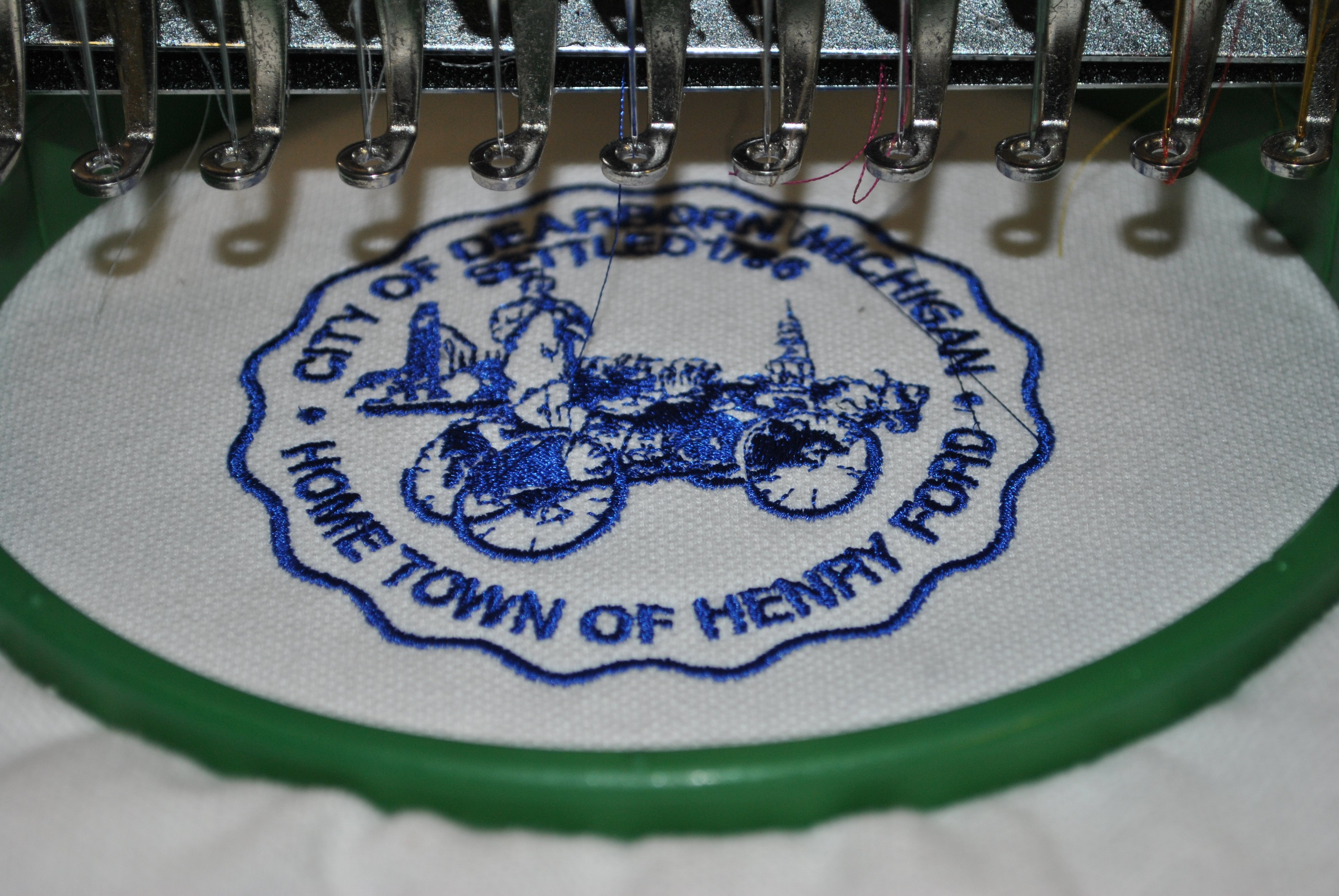 City of Dearborn Logo Being Embroidered